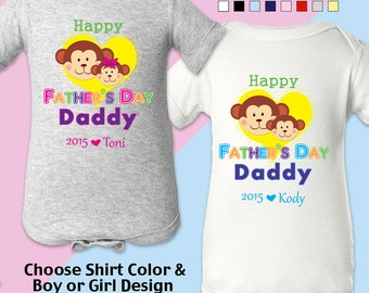 Happy Father's Day, Daddy - Bodysuit / Boys / Girls/Personalized w/ Name & Year. New Dad