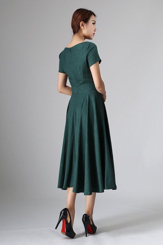 Elegant Long Green Dress