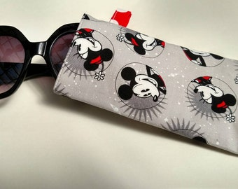 Disney Mickey and Minnie Mouse Sunglass Case with red & white polka dot lining