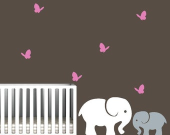 Elephant Wall Decals, Mommy or Daddy Elephant with Baby Elephant and Butterflies
