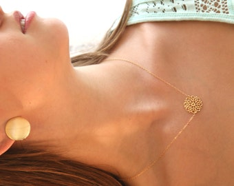 gold necklace, gold flower necklace, lace pattern, dainty necklace, simple gold necklace, wedding, evening jewelry -033