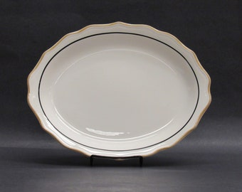 Vintage Syracuse China Wavy Edged Oval Platter with Gold and Black Stripe (E10088)
