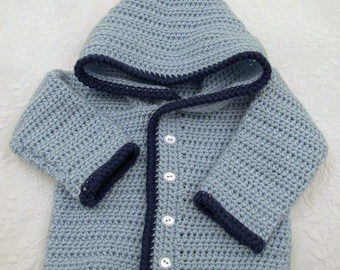Boy's Light Blue Crocheted Hooded Sweater