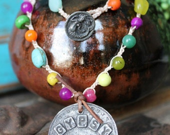 Gypsy Soul Crocheted Bohemian Necklace Multi Color Gemstones Beach Jewelry
