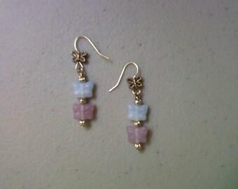 Light Blue and Lavender Butterfly Earrings (1037)