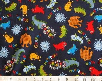 "Michael Miller Fabric, ""Monsters"" fabric yardage on bolt  MM010"