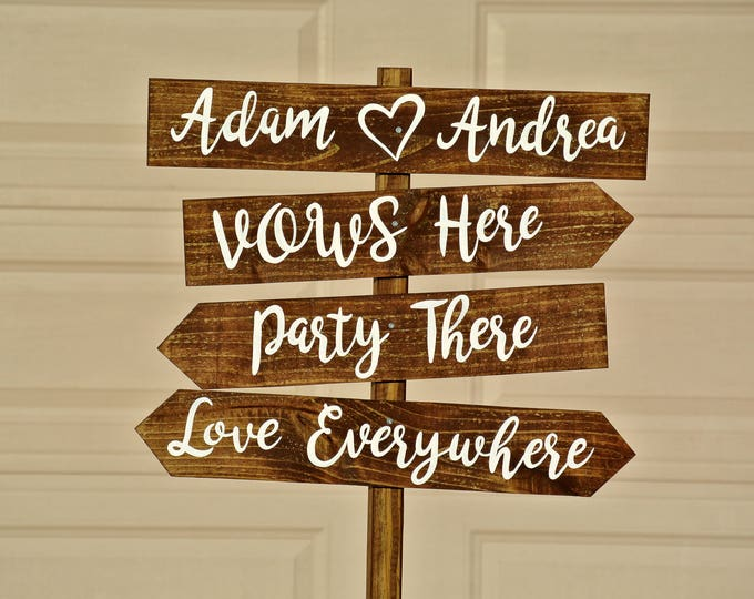 Vows Here Party There Love Everywhere rustic wood wedding sign, Wooden beach wedding decor, Gift for couple idea