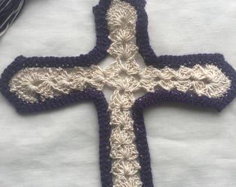 Cross Bookmark, crocheted purple and white