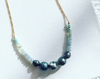 Tahitian Pearl Necklace with Sapphire