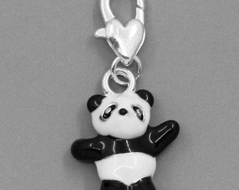 The silver plated and enameled CHARMS 34x16mm PANDA charm