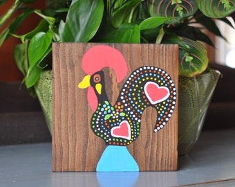 Hand painted Barcelos rooster wood sign. Portuguese rooster. Good luck rooster. Galo de Barcelos.  Mantle decor. Gallery wall decor.