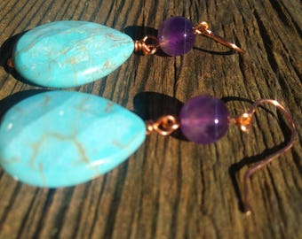 Turquoise Amethyst Copper Earring, Healing Crystals, Natural Stones, Chakra Stone, Gift
