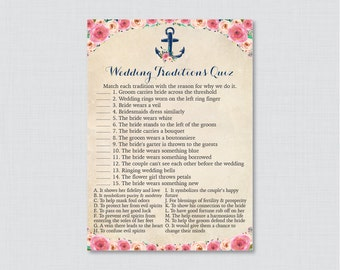 Nautical Wedding Traditions Quiz - Printable Pink Floral and Navy Anchor Bridal Shower Game - Why Do We Do That Quiz - Nautical Anchor 0020