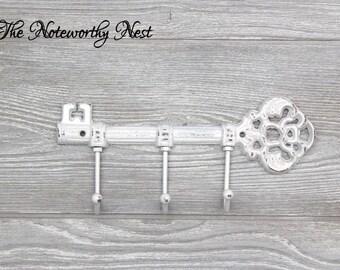 ANY COLOR Skeleton key wall hook / Cast Iron Key Hook / Cast Iron hook / skeleton key / white decor / white wall decor / white key holder