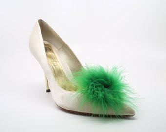 Detachable Feather Puff Pom Pom Shoe Clips  Set of Two Green