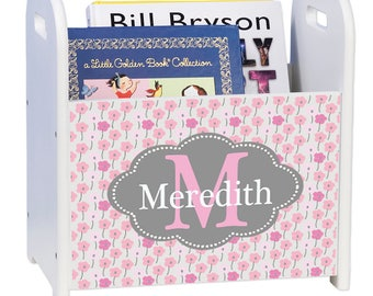 Personalized Pink and Gray White Book Caddy and Rack Flowers Pretty Pink Girlie Green Lime Light Blue Colorscadd-pat-431