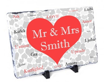 Personalised Language Of Love Photo Slate - Mr and Mrs - Mr and Mr - Mrs and Mrs - Personalized Wedding Gift