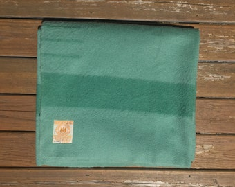 Hudson's Bay Point Blanket Sea Foam Green 100% Wool 81x62 Twin Sized Vintage Home Decor Plaid Mid Century Made In England