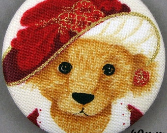 Fabric - Christmas bear button - Christmas Teddy Bear - 40mm - (40-10)