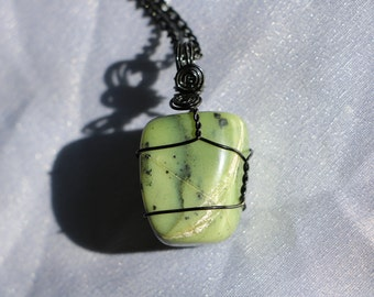 Jade Stone Crystal Wire Wrapped Pendant