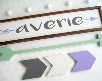 Arrow Nursery Sign . Large Name Sign Set . Baby Girl . Woodland Nursery . Custom Baby Name Sign . Long Arrow . Chevrons . Name Sign . Boho
