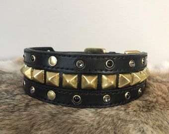 """2"""" Leather Collar with Swarovski Gems and brass hardware Customization Available"""