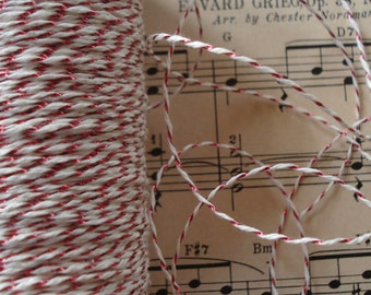 2y Vintage 1930s French Cotton Red Metallic Tinsel Twist Cord Trim Twine Tag Thread Embroidery Floss Gift Package Hang Tags