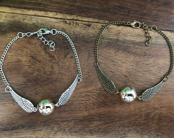 Deathly Hallows Golden Snitch Angel Wings Bracelet / Anklet Silver or Bronze Colours