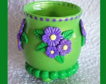 Flower Tealight Candle holder. Glass Votive, Polymer Clay Design, Polymer clay candle holder, Lime Green,