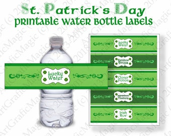 Green Irish Birthday  St Patricks Printable Water Bottle Wrappers Labels - Shamrock Party Decoration  - Instant download