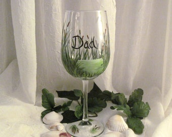 Free shipping Gift for men wine glass cattails and beach grass painted