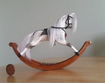 Dolls house miniature handmade wooden rocking horse 1.12 scale