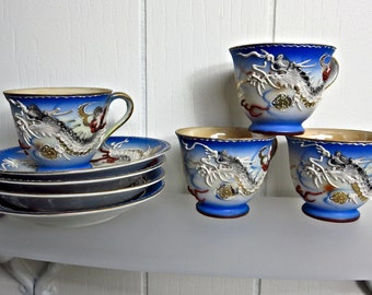 Vintage Japanese Maruku Dragon Ware - Demitasse Set of 4 - Dragonware - Moriage - Occupied Japan - Blue Lusterware - Normally China