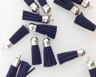 Navy Tassel with Silver Top // 1 1/2 in // Tassels // BBBsupplies {CR-T-S005}