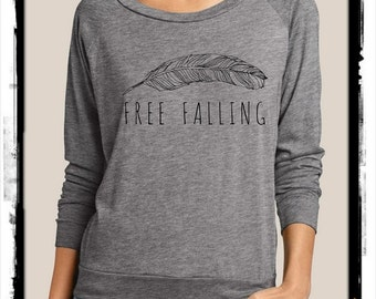 Free Falling Heathered Slouchy Pullover long sleeve Girls Ladies shirt screenprint Alternative Apparel