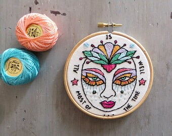 Hoop Art Face, Embroidery art, Embroidery illustration, Hand embroidery, Modern wall hanging, modern embroidery.