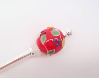 Red Hair stick ,Hair pin,Japanese Kazashi,Japanese Hair stick,Tonbodama Glass Beads,Flower Japanese hair accessories