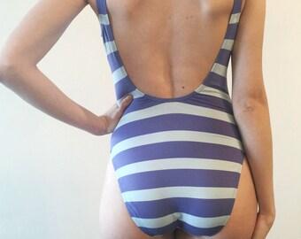 Vintage One Piece Swimsuit// Ralph Lauren Open Back Swimsuit//