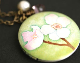 Cherry Blossom Locket Necklace. Cherry Flower Necklace with Pink Teardrop and Fresh Water Pearl Charm. Bronze Locket. Handmade Necklace.