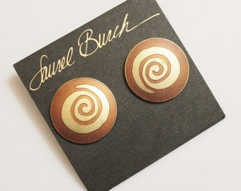 Big Bold Vintage Studs By Laurel Burch, Gold Spiral Earrings