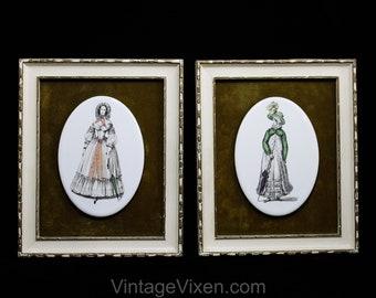 Pair Framed Pictures - Victorian Ladies Fashion Illustration - 1800s Regency Dress & 1830s Walking Dress - Prints on Porcelain - 50901