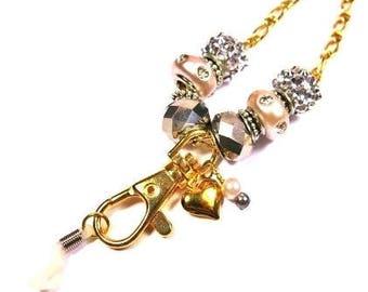 Eye Glass ID Badge Gold Chain Beaded Lanyard