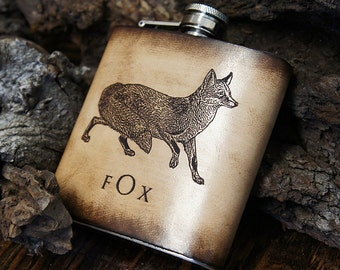6oz Stainless Steel & Leather Hip Flask [Free Personalization] [Multicolor] [Fox]