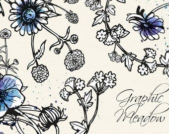 Graphic flowers clip art, Graphic meadow - 9 inked flowers clip art, wild flowers clip art, vector flowers, meadow flowers clip art, inked