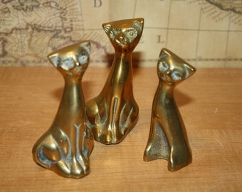 Brass Cats - set of 3 - item #2092