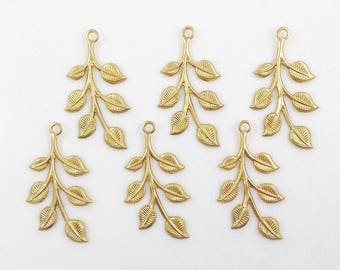 Raw Brass Leaf, Leaves, Leaf Stamping, Brass Finding, 20mm x 37mm - 6 pcs. (r186)