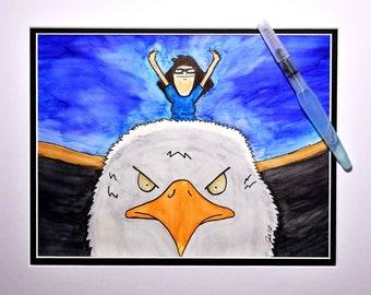 Tina from Bob's Burgers riding a glorious eagle!