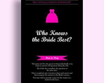 Who Knows the Bride Best Bachelorette Game Download - Bridal Shower Games Bachelorette Party Games Hen Party Games Bachelorette Games