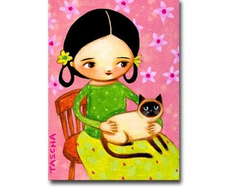 ORIGINAL Siamese Cat painting CHERRY BLOSSOMS sweet seal point siamese with pink cherry blossom flowers painting by Tascha