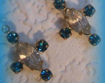 Swarovski Crystal, Clear, Indicolite, 20MM, A Pair, Multi 5 Stone, Navette, Rhinestone, Chaton surrounding, Brass, Prong, CB, Setting,